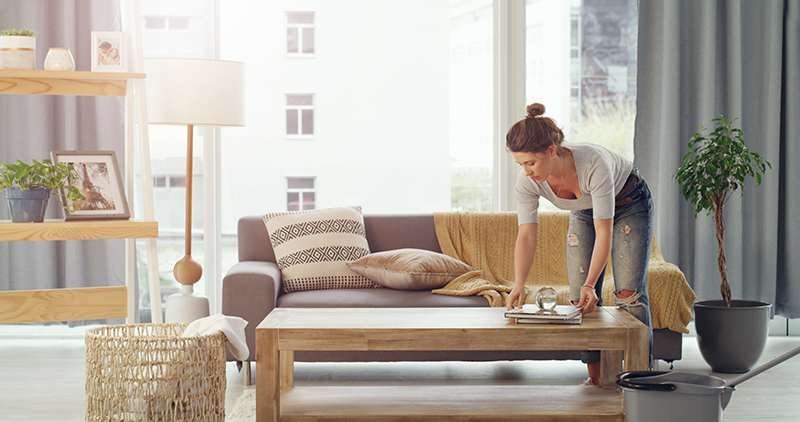 Clearing clutter in your home before guest come over. Quick cleaning.