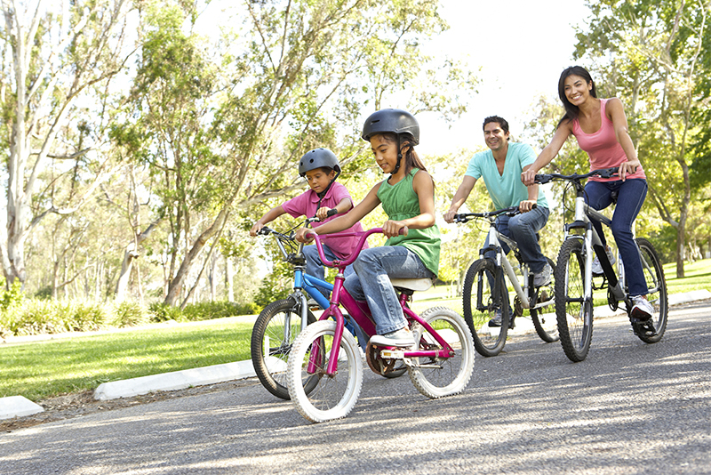 Kids riding bikes to stay active and healthy